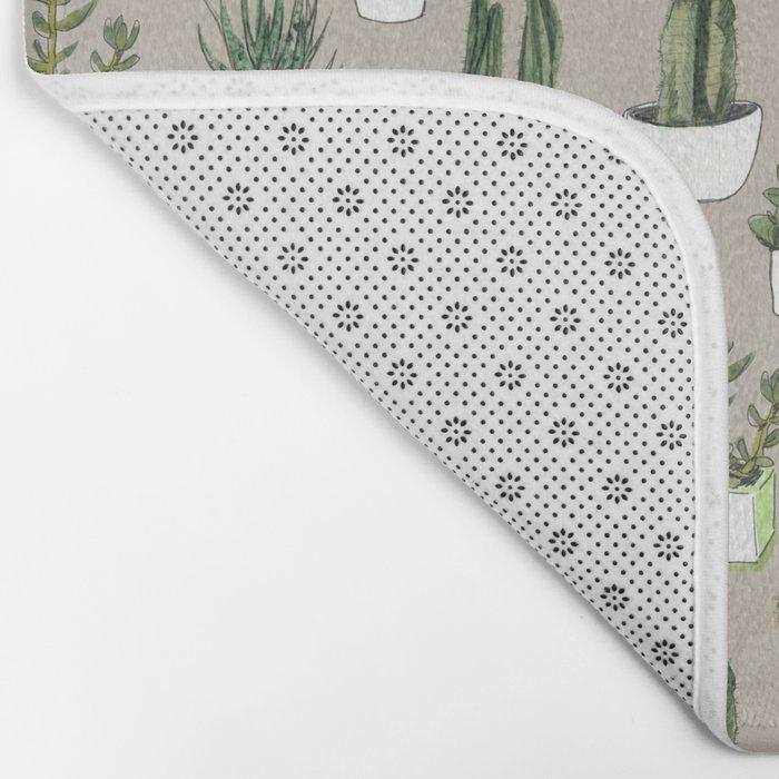 Watercolour cacti & succulents - Beige Bath Mat