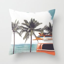 Red surf van Throw Pillow