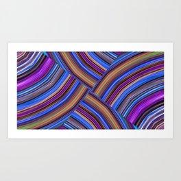 Purple and Blue Pattern Zigzag Art Print