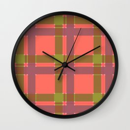 Coral, Green, and Mauve Plaid Wall Clock