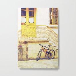 yellow bicycle and door Metal Print
