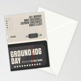 Groundhog Day, Bill Murray, minimalist movie poster, Andie MacDowell, Harold Ramis Stationery Cards