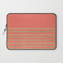Peach and Gold Stripes Laptop Sleeve