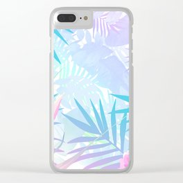 Pastel Rainbow Tropical Paradise Design Clear iPhone Case