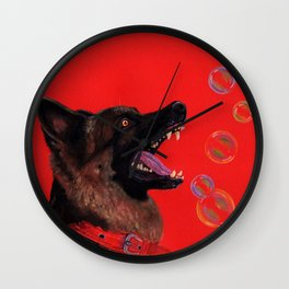 Hating those bubbles - A German Shepherd's rant Wall Clock