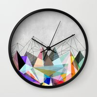 geometry Wall Clocks featuring Colorflash 3 by Mareike Böhmer