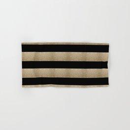 preppy contemporary minimalist great gatsby champagne black gold stripes Hand & Bath Towel