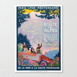 1920 France La Route de Alps PLM Travel Poster Canvas Print