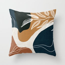 Leafy Lane in Navy and Tan 3 Throw Pillow