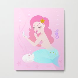 Mermaid Primp Metal Print