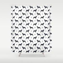 boston terrier silhouette pattern Shower Curtain