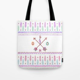 Boho Typogrpahy Tribal Aztec Feather Arrow Pattern Tote Bag
