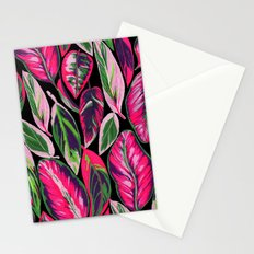 Pink leaves pattern Stationery Cards