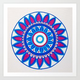 The Blue and Pink Mandala Art Print