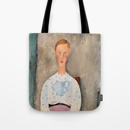 "Amedeo Modigliani ""Girl with a Polka-Dot Blouse (Jeune fille au corsage à pois)"" Tote Bag"