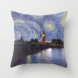 starry night over london Throw Pillow