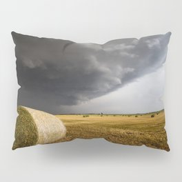 Spinning Gold - Storm Over Hay Bales in Kansas Field Pillow Sham