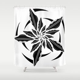 UFO spin - black Shower Curtain