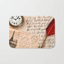 Vintage Old Paper Pen Watch Writing Stamp Postcard Bath Mat