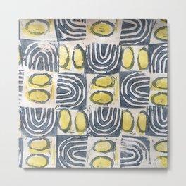 Tapa - sun & sea (blue / yellow check) Metal Print