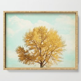 Autumn Fall Tree Photography, Gold Orange Yellow Trees, Mint Teal Aqua Turquoise, Golden Nature Sky Serving Tray