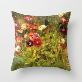 Multi-Color and Red Poppy Fields in Tuscany, Italy by Maria Oakey Dewing Throw Pillow