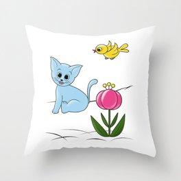 Smiling Cat Throw Pillow