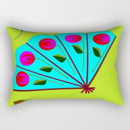 A Fan with Roses and a Dragon Fly Rectangular Pillow