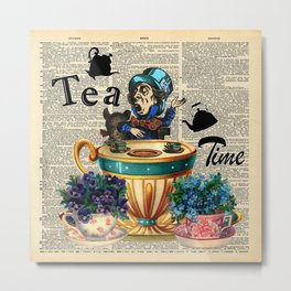 Tea Time - Alice In Wonderland - Vintage Dictionary Page Metal Print