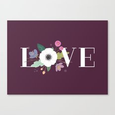 Floral Love - in Plum Canvas Print