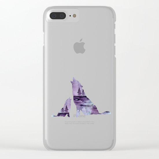Howling Wolves Clear iPhone Case