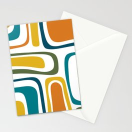 Palm Springs Midcentury Modern Abstract in Moroccan Teal, Orange, Mustard, Olive, and White Stationery Cards