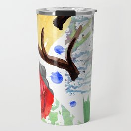 Hand painted red pink green watercolor geometrical abstract roses Travel Mug