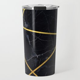 Black marble with gold lines Travel Mug