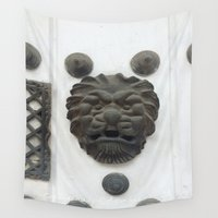 colombia Wall Tapestries featuring Cartagena Lion Mug, Colombia, South American by ANoelleJay