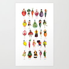 Girly VeggieFruit  Art Print