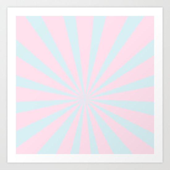 Starbust 60's pastel-Pink Aqua geometric Pattern Art Print