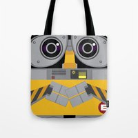 wall e Tote Bags featuring Wall-E by Sam Del Valle