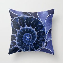 Blue fossil Throw Pillow