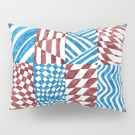 Checkerboard, Blue/Red Abstract (Ink Drawing) Pillow Sham
