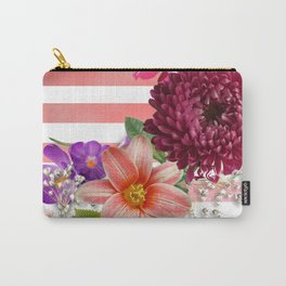 Flowers and Pink Stripes Carry-All Pouch