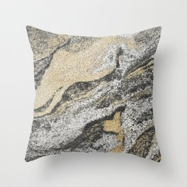 Vintage chic black gold yellow abstract marble Throw Pillow
