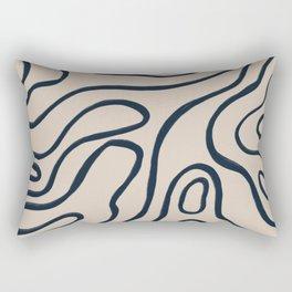 Topographic Map / Nude & Dark Blue Rectangular Pillow