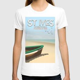 St Ives ,Cornwall ,beach travel poster, T-shirt