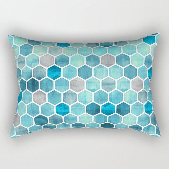 Blue Ink - watercolor hexagon pattern Rectangular Pillow