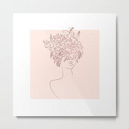 Flower camouflaged woman and sky - Moon - [Minimalist style - Line art] Metal Print