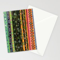 Absorbed Rings with Vertical Stripes Pattern Stationery Cards