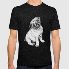 Pug Tri-Black Mens Fitted Tee SMALL