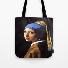 Girl with a Pearl Earring After Johannes Vermeer Tote Bag