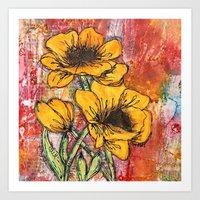 Poppies in Yellow Art Print